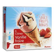 Auchan cônes vanille fraise x6 - 427g