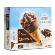 Auchan cônes chocolat éclats noisettes x6 -720ml