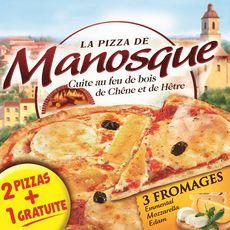 MANOSQUE Pizza 3 fromages cuite au feu de bois de chêne et de hêtre 2 pizzas + 1 offerte 1,2kg