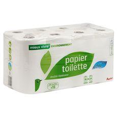 AUCHAN MIEUX VIVRE Papier toilette blanc écolabel compact 2 épaisseurs = 24 standards 16 rouleaux