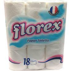 FLOREX Papier toilette blanc en rouleaux 18 rouleaux