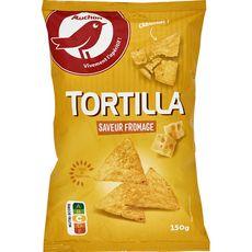 AUCHAN Tortillas chips saveur fromage 150g