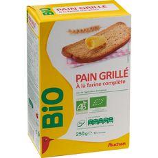 AUCHAN BIO Pain grillé à la farine complète 12 tranches 250g