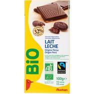 Auchan Bio chocolat au lait 32% cacao 100g