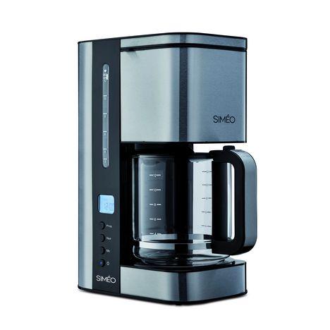 SIMEO Cafetière programmable CFP200 Noir/Inox brossé