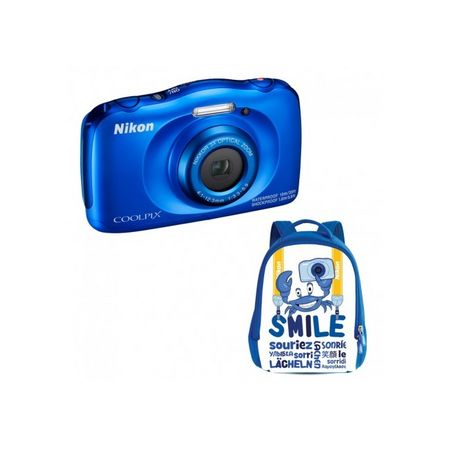 NIKON Appareil Photo Compact - Enfant - Etanche - Anti Choc  COOLPIX W100 - Bleu + Objectif 4.1-12.3 mm + Sac à dos