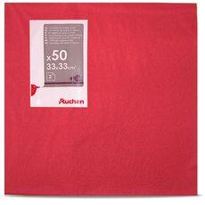 AUCHAN Auchan Serviettes en papier 33x33cm rouges 2 plis 50 pièces
