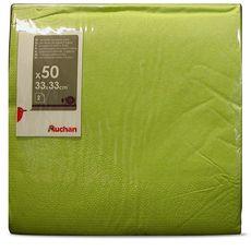 ACTUEL Actuel Serviettes en papier 33x33cm vertes 2 plis 50 pièces