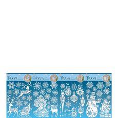 Stickers 3d argent pailleté 41x29cm x1 1 pièce