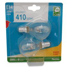 Auchan halogène E14 mini sphérique 30W