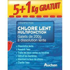 AUCHAN Auchan Chlore multifonction dissolution lente en galets pour piscine 5+1kg 5+1kg