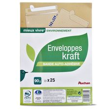 Auchan enveloppe papier kraft 162x229 auto-adhésive 90g x25