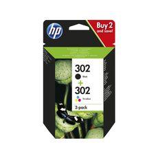 HP Pack de 2 Cartouches d'Encre HP 302 Noire et Trois Couleurs Authentiques (X4D37AE)