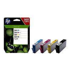 HP Cartouches d'Encre N364 4 Cartouches Noires + Couleurs
