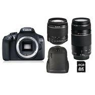 CANON Appareil Photo Reflex - EOS 1300D - Noir + Objectif 18-55 mm + Objectif 75-300 mm + Sac à Dos + Carte SD 8Go