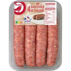 AUCHAN Saucisses de Toulouse 4 pièces 400g