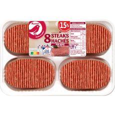 AUCHAN Steaks Hachés pur bœuf 15%mg 8 pièces 800g