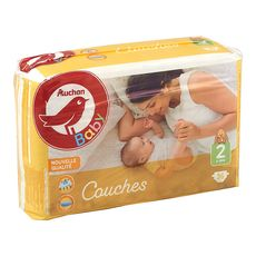 AUCHAN BABY Confort + couches taille 2 (3-6kg) 36 couches