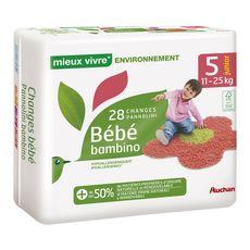 AUCHAN MIEUX VIVRE Couches bébé écologiques taille 5 (11-25kg) 28 couches