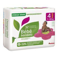 AUCHAN MIEUX VIVRE Couches bébé écologiques taille 4 (7-18kg) 32 couches