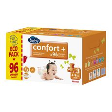 Auchan baby Confort + couches taille 3 (4-9kg) x96