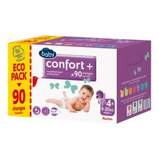 AUCHAN BABY Confort + couches taille 4+ (9-20kg) 90 couches