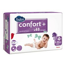 AUCHAN BABY Confort + couches taille 4+ (9-20kg) 48 couches