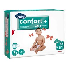 AUCHAN BABY Confort + couches taille 6 (13-27kg) 40 couches
