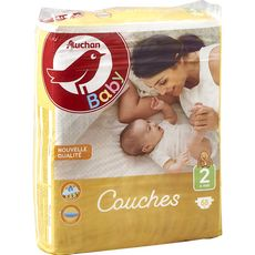 AUCHAN BABY Couches taille 2 (3-6kg) 68 couches