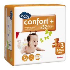 Auchan baby Confort + couches taille 3 (4-9kg) x32