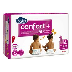 AUCHAN BABY Confort + couches taille 4 (7-18kg) 50 couches