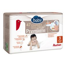 AUCHAN BABY Premium couches taille 3 (4-9kg) 47 couches