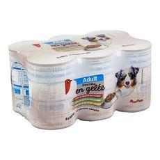 AUCHAN Adult assortiment boîtes pâtée en gélée viandes pour chien 6x400g