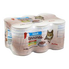 AUCHAN Boîtes de pâtée au bœuf lapin et poulet pour chat 6x400g