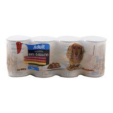 AUCHAN Adult assortiment boîtes pâtée en sauce viandes pour chien 4x400g