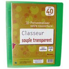 AUCHAN Auchan Classeur souple A4 21x29,7cm transparent dos personnalisable 1 pièce