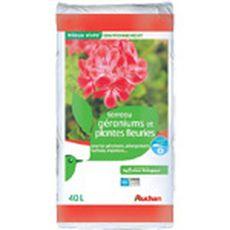 Auchan Terreau pour géraniums et plantes fleuries 40l