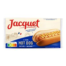 JACQUET Pains hot Dog nature sans huile de palme x4 240g