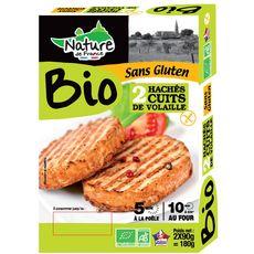 Nature de France haché cuit de volaille bio 2x90g