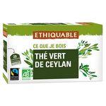 Ethiquable Thé Vert De Ceylan 20 Sachets 36g
