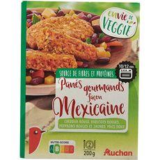 AUCHAN Auchan Pané gourmand végétal façon mexicaine tex mex 200g 2 pièces 200g