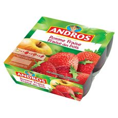 ANDROS Andros compote pomme fraise des bois 4x100g