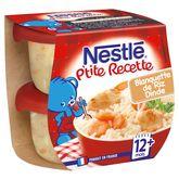 Nestlé ptite recette blanquette dinde riz 2x200g dès 12 mois