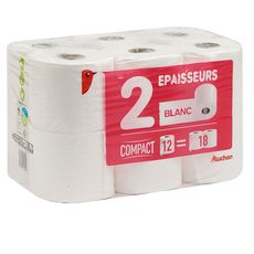AUCHAN Auchan Papier toilettte blanc compact 2 épaisseurs x12 = 18 standards 12 rouleaux