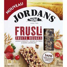 JORDAN'S Frusli barres de céréales à l'avoine complète aux fruits rouges 6 barres 6x30g