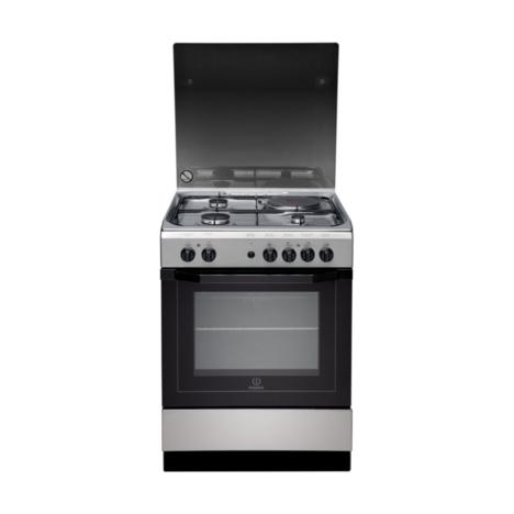 INDESIT Cuisinière mixte I6M6CAG(X)/FR, 60 cm, 3 foyers gaz + 1 électrique, four multifonction