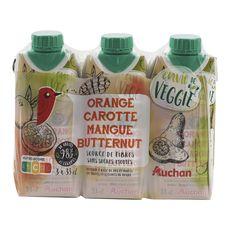 Auchan veggie jus orange carotte mangue butternut 3x33cl