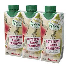 Auchan veggie betterave panais pamplemousse framboise 3x33cl