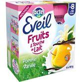 Lactel Eveil fruits et touche de lait pomme vanille gourde 4x90g