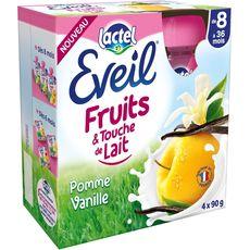 Eveil fruits touche de lait pomme vanille 4x90g dès 8mois